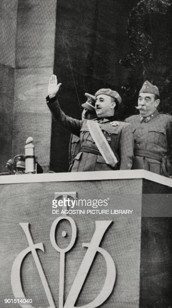 Francisco Franco saluting the military parade organised in Madrid to celebrate the nationalist victory Spain Spanish Civil war from L'Illustrazione...