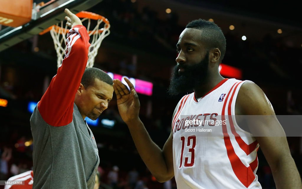 Francisco Garcia #32 and James Harden #13 of the Houston Rockets celebrate after defeating the Utah Jazz 100-93 at Toyota Center on March 20, 2013 in Houston, Texas.