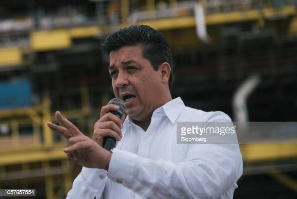 Francisco Garcia Cabeza de Vac, governor of Tamaulipas state, speaks during a presentation of the finished Abkatun-A2 oil platform at the Mcdermott...