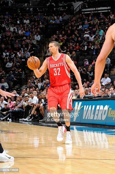 Francisco Garcia of the Houston Rockets controls the ball against the San Antonio Spurs at the ATT Center on November 30 2013 in San Antonio Texas...