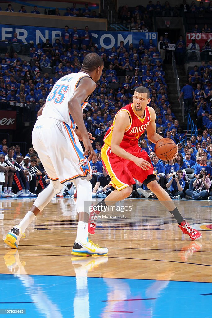 Francisco Garcia #32 of the Houston Rockets looks to pass the ball against the Oklahoma City Thunder in Game Five of the Western Conference Quarterfinals during the 2013 NBA Playoffs on May 1, 2013 at the Chesapeake Energy Arena in Oklahoma City, Oklahoma.