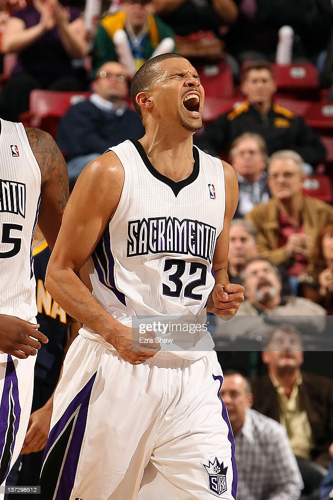 Francisco Garcia #32 of the Sacramento Kings reacts after making a free throw that put the Kings ahead by two point with less than a minute to play against the Indiana Pacers at Power Balance Pavilion on January 18, 2012 in Sacramento, California.