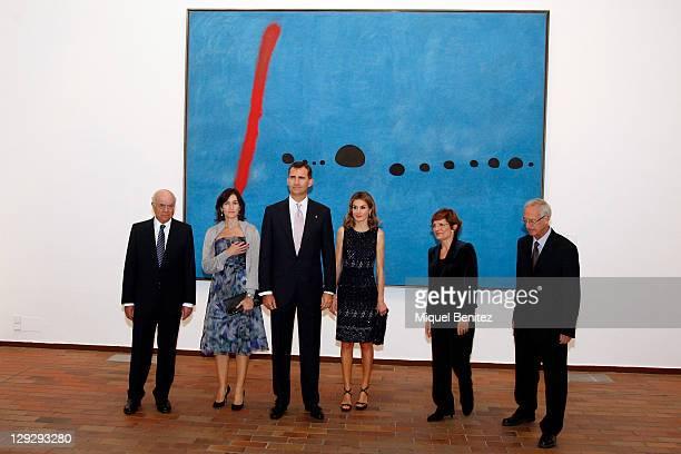 Francisco Gonzalez Angeles Gonzalez Sinde Spanish Crown Prince Felipe de Borbon wife Letizia Ortiz Rosa Maria Mallet and Jaume Freixa attend the...