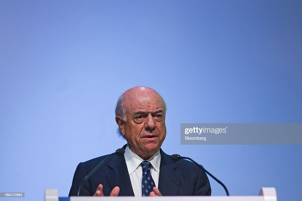 Francisco Gonzalez, chairman of Banco Bilbao Vizcaya Argentaria SA (BBVA), speaks during a news conference to announce the company's fourth-quarter results in Madrid, Spain, on Friday, Feb. 1, 2013. BBVA, Spain's second-biggest bank, posted a 20 million-euro ($27.3 million) fourth-quarter profit as a revenue boost offset costs of completing a cleanup of Spanish real estate assets. Photographer: Angel Navarrete/Bloomberg via Getty Images