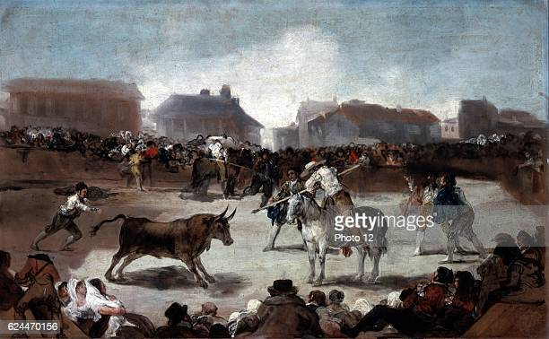 Francisco Goya Spanish school A village bullfight Bullfighting a traditional sport of Spain Portugal Southern France and parts of Latin America