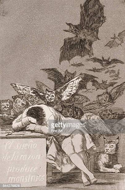 Francisco Goya The sleep of reason produces monsters from Los Caprichos etching with aquatint 189 x 149 cm private collection