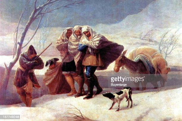 Francisco Goya's A group bundles up while walking in a snowstorm they have along a donkey to carry their goods and a dog walks along side 1776