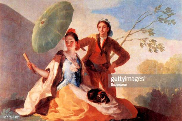 Francisco Goya's Western faced people in oriental garb a man holds an umbrella over a young woman who has a dog in her lap 1776