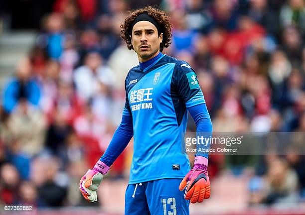 Francisco Guillermo Ochoa of Granada CF looks on during the La Liga match between Granada CF and Sevilla FC at Estadio Nuevos Los Carmenes on...