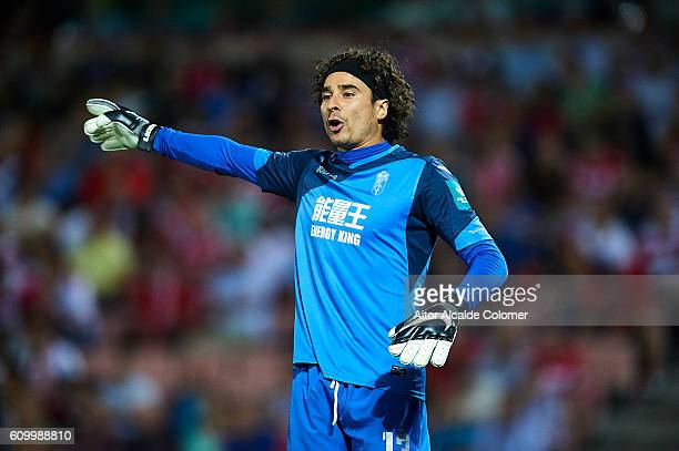 Francisco Guillermo Ochoa of Granada CF looks on during the match between Granada CF vs SD Eibar as part of La Liga at Nuevo los Carmenes Stadium on...