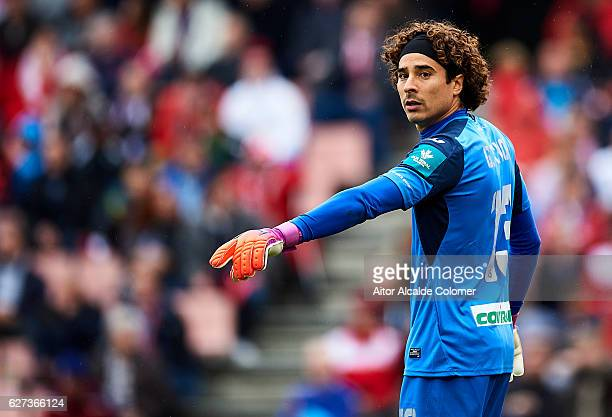 Francisco Guillermo Ochoa of Granada CF reacts during the La Liga match between Granada CF and Sevilla FC at Estadio Nuevos Los Carmenes on December...