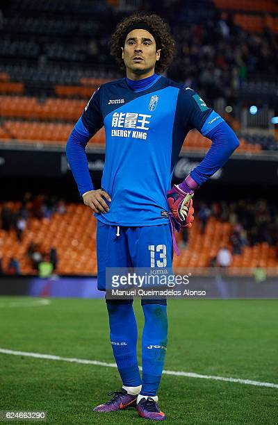 Francisco Guillermo Ochoa of Granada looks on at the end of the La Liga match between Valencia CF and Granada CF at Mestalla Stadium on November 20...
