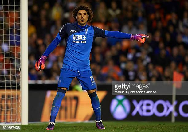 Francisco Guillermo Ochoa of Granada reacts during the La Liga match between Valencia CF and Granada CF at Mestalla Stadium on November 20 2016 in...