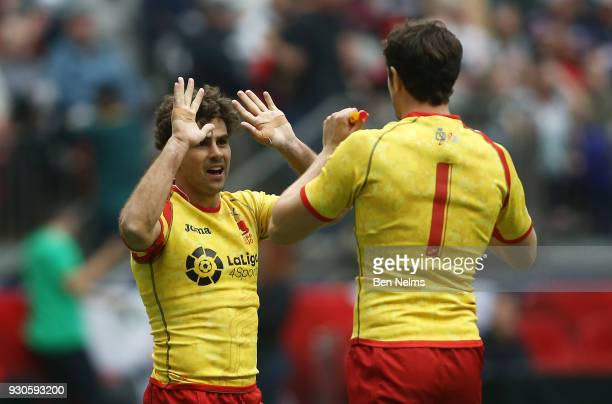 Francisco Hernandez and Thomas Pearce of Spain celebrate their win over Russia during the Canada Sevens the Sixth round of the HSBC Sevens World...