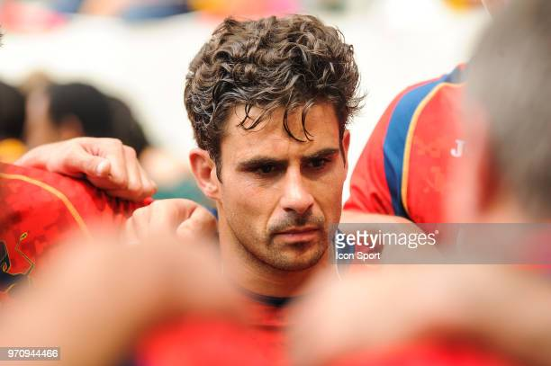 Francisco Hernandez of Sapain looks dejected during the match between South Africa and Spain at the HSBC Paris Sevens stage of the Rugby Sevens World...