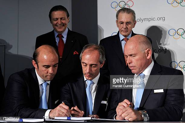 Francisco Irarrazaval Buenos Aires 2018 Chairman Claudio Morresi Argentina's Sports Minister Gerardo Werthein President of the Argentine Olympic...