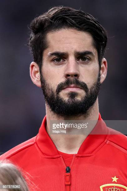 Francisco Isco Alarcon of Spain looks on prior the International friendly match between Germany and Spain at EspritArena on March 23 2018 in...