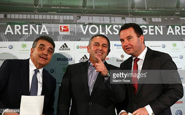 Francisco Javier Garcia Sanz Chairman of Volkswagen Group and STephan Gruehsem present Klaus Allofs as its new sporting director for the current...