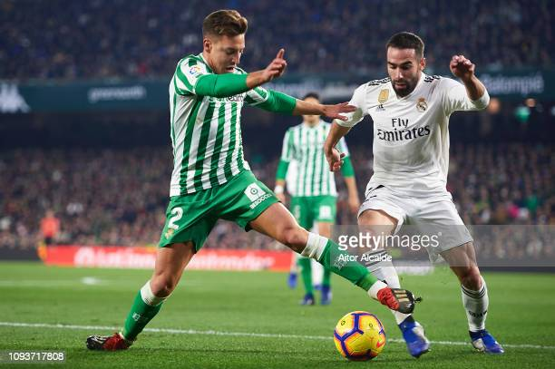 Francisco Javier Guerrero Francis of Real Betis Balompie being followed by Daniel Carvajal of Real Madrid CF during the La Liga match between Real...
