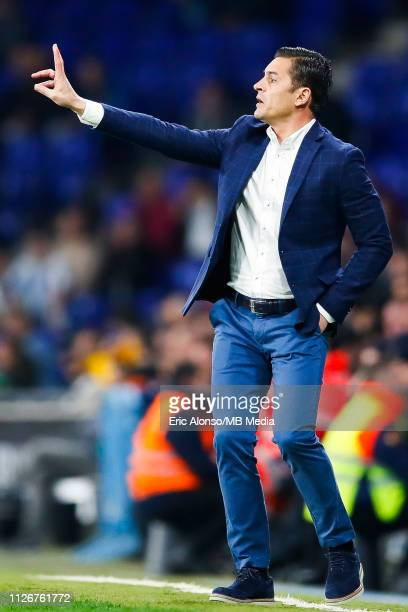 Francisco Javier Rodríguez make orders to his players during the La Liga match between RCD Espanyol and SD Huesca at RCDE Stadium on February 22 2019...