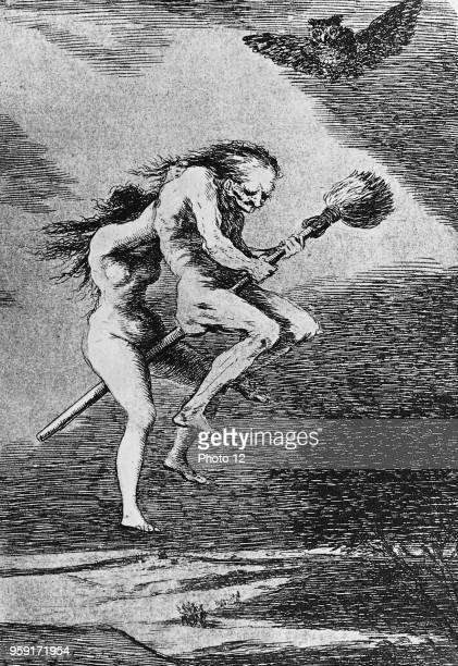 Francisco Jose de Goya Two witches fly to Blocksberg Engraving taken from the Caprichos 1796