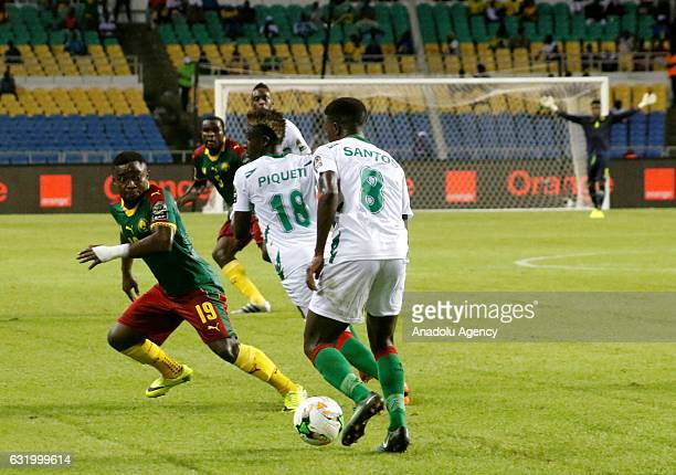 Francisco Junior of Gine Bissau in action against Collins Fai of Cameroon during the Africa Cup of Nations 2017 Group A match between Cameroon and...