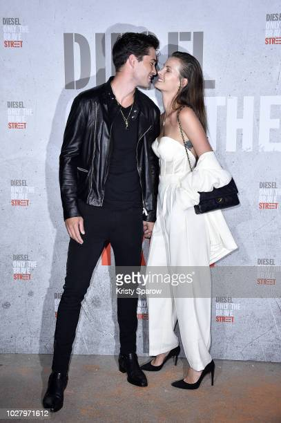 Francisco Lachowski and Jessiann Gravel Beland attend the Diesel Fragrance 'Only the Brave Street' Launch Party at Palais De Tokyo on September 6...