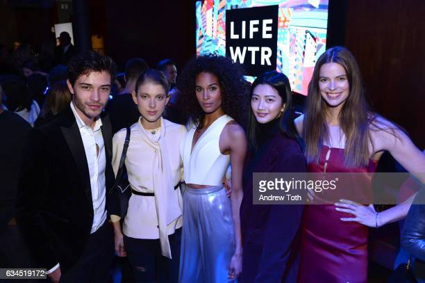 Francisco Lachowski Cindy Bruna and Robyn Lawley attend The Daily Front Row x LIFEWTR New York Fashion Week opening night at Kola House on February 9...