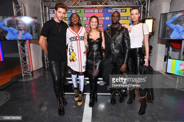 Francisco LachowskiKaridja ToureMarieAnge Casta Loic Mabanza and Jessieann Lachowski arrive at MOSCHINO [tv] HM Launch Party at Le Dernier Etage on...