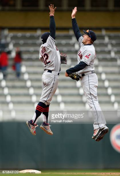 Francisco Lindor and Lonnie Chisenhall of the Cleveland Indians celebrate winning the game against the Minnesota Twins on April 20 2017 at Target...
