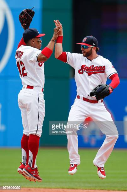Francisco Lindor and Tyler Naquin of the Cleveland Indians celebrate a 120 victory over the Chicago White Sox at Progressive Field on June 20 2018 in...