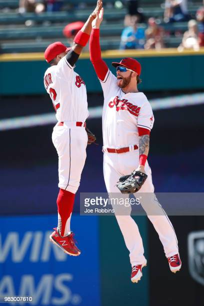 Francisco Lindor and Tyler Naquin of the Cleveland Indians celebrate after the game against the Detroit Tigers at Progressive Field on June 24 2018...