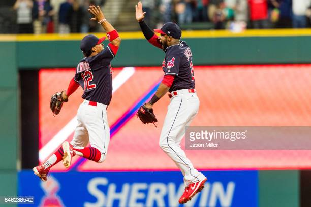 Francisco Lindor celebrates with Austin Jackson of the Cleveland Indians after the Indians defeated the Detroit Tigers at Progressive Field on...