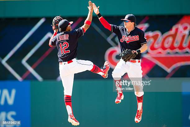 Francisco Lindor celebrates with Tyler Naquin of the Cleveland Indians after the Indians defeated the Athletics at Progressive Field on July 31 2016...