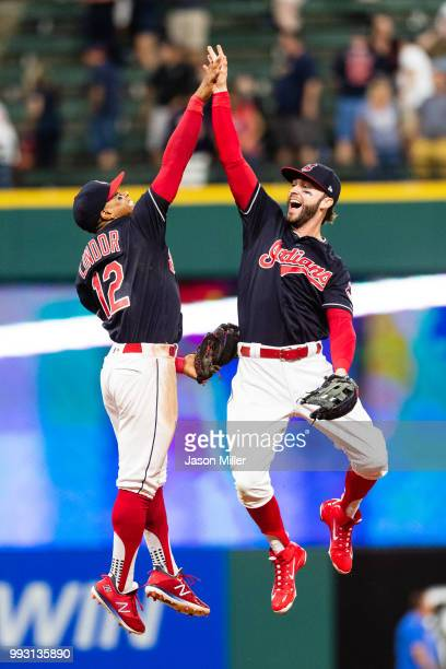 Francisco Lindor celebrates with Tyler Naquin of the Cleveland Indians after the Indians defeated the Oakland Athletics at Progressive Field on July...