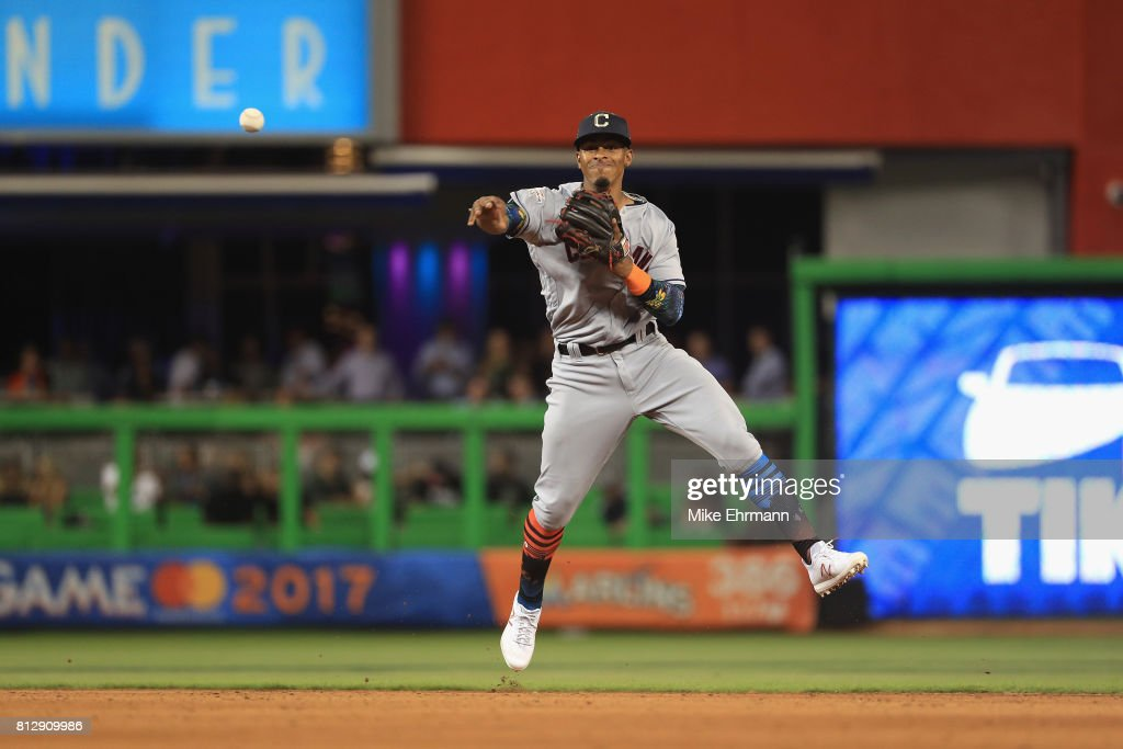Francisco Lindor #12 of the Cleveland Indians and the American League fields a ball in the tenth inning against the National League during the 88th MLB All-Star Game at Marlins Park on July 11, 2017 in Miami, Florida.