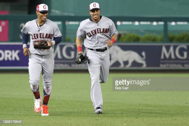 Francisco Lindor of the Cleveland Indians and the American League and Michael Brantley of the Cleveland Indians during the 89th MLB AllStar Game...