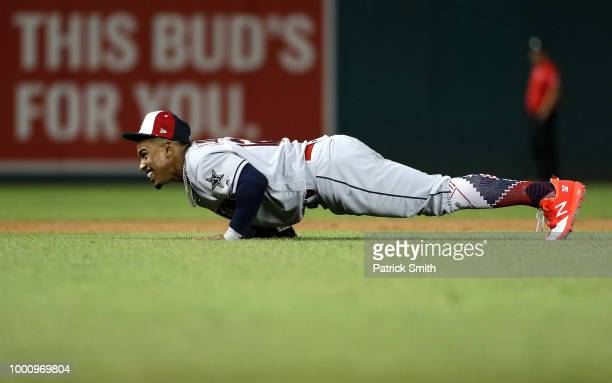 Francisco Lindor of the Cleveland Indians and the American League reacts in the sixth inning against the National League during the 89th MLB AllStar...