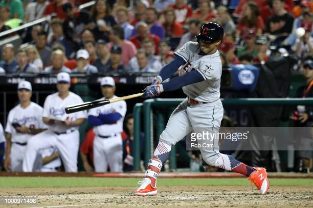 Francisco Lindor of the Cleveland Indians and the American League bats in the sixth inning against the National League during the 89th MLB AllStar...
