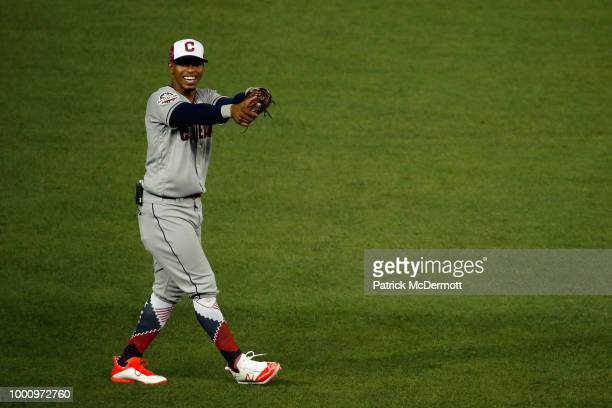 Francisco Lindor of the Cleveland Indians and the American League fields the ball against the National League during the 89th MLB AllStar Game...