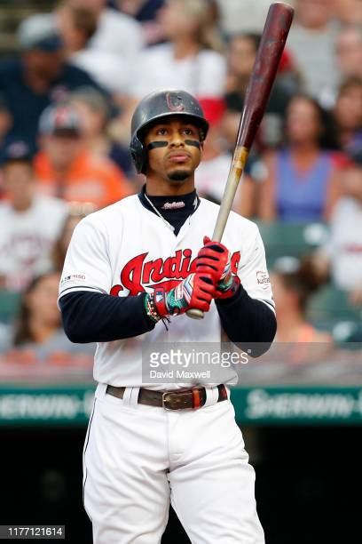 Francisco Lindor of the Cleveland Indians bats against the Philadelphia Phillies in the first inning at Progressive Field on September 22, 2019 in...