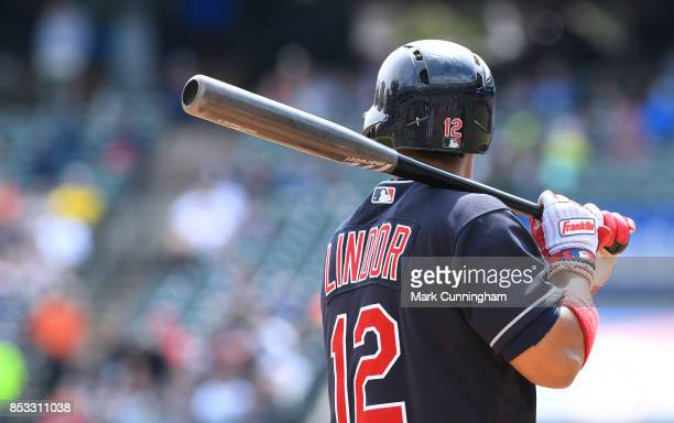 Francisco Lindor of the Cleveland Indians bats during game one of a double header against the Detroit Tigers at Comerica Park on September 1 2017 in...