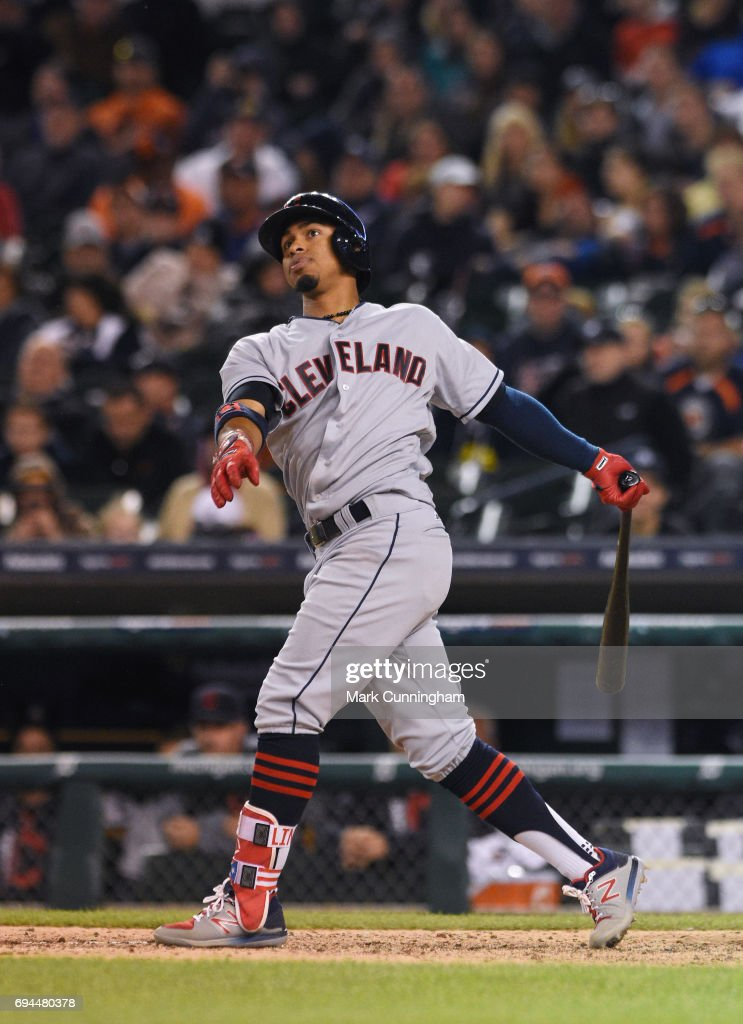 Francisco Lindor #12 of the Cleveland Indians bats during the game against the Detroit Tigers at Comerica Park on May 3, 2017 in Detroit, Michigan. The Indians defeated the Tigers 3-2.