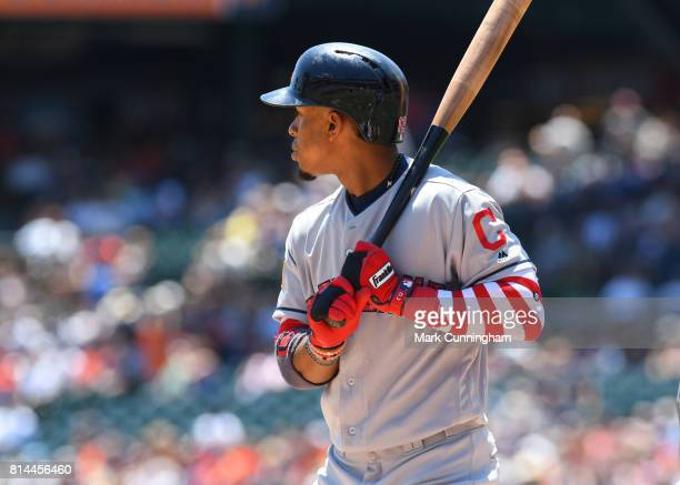 Francisco Lindor of the Cleveland Indians bats while wearing special jersey and red and white stripe arm sleeve in honor of Independence Day Weekend...
