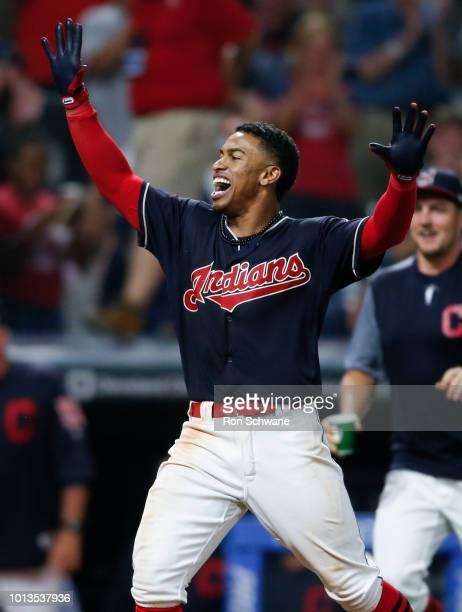 Francisco Lindor of the Cleveland Indians celebrates after hitting a game winning three run home run off Trevor Hildenberger of the Minnesota Twins...