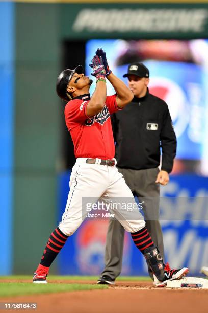 Francisco Lindor of the Cleveland Indians celebrates after hitting a leadoff double during the first inning against the Detroit Tigers at Progressive...