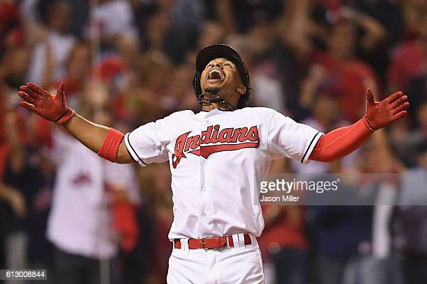 Francisco Lindor of the Cleveland Indians celebrates after hitting a solo home run in the third inning against the Boston Red Sox during game one of...