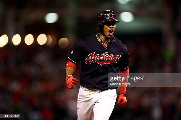 Francisco Lindor of the Cleveland Indians celebrates after hitting a two run home run to right field against Marco Estrada of the Toronto Blue Jays...