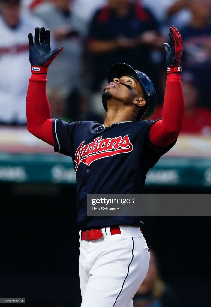 Francisco Lindor #12 of the Cleveland Indians celebrates after hitting a three run home run off Jackson Stephens #62 of the Cincinnati Reds during the fourth inning at Progressive Field on July 11, 2018 in Cleveland, Ohio.