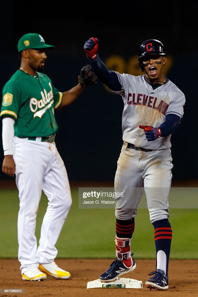 Francisco Lindor #12 of the Cleveland Indians celebrates after hitting an RBI double against the Oakland Athletics during the eighth inning at the Oakland Coliseum on June 29, 2018 in Oakland, California. The Oakland Athletics defeated the Cleveland Indians 3-1.